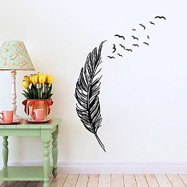 Left Right Flying Feather Wall Stickers Home Decor Adesivo De Parede Home Decoration Wallpaper Wall Sticker