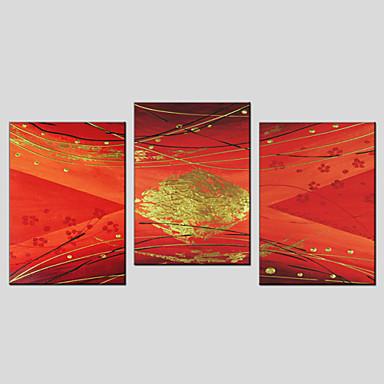 מצויר ביד מופשטקלאסי / מסורתי / פסטורלי / סגנון ארופאי / מודרני שלושה פנלים בד ציור שמן צבוע-Hang For קישוט הבית