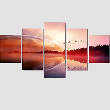 Paisagem / Moderno / Romântico Impressão em tela 5 Painéis Pronto para pendurar , Horizontal
