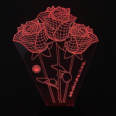 vizuális 3d rózsa színváltó led dekoráció usb asztali lámpa színes ajándék éjszakai fény