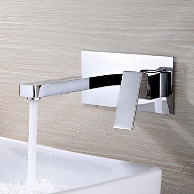 Moderne Wandmontage drehbar Keramisches Ventil Zwei Löcher Einzigen Handgriff Zwei Löcher Chrom , Waschbecken Wasserhahn