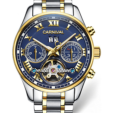 94a2118ac Carnival Men's Skeleton Watch Aviation Watch Automatic self-winding  Oversized Stainless Steel White / Gold