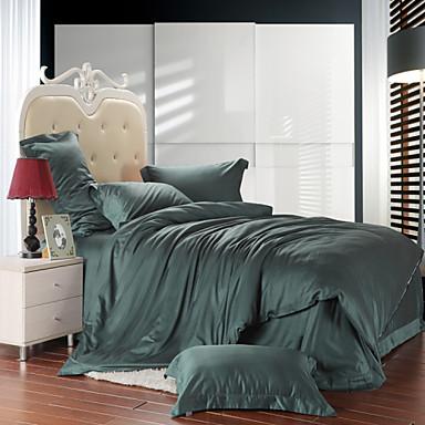 Bettbezug-Sets Solide lyocell Baumwolle Seide / Baumwolle Reaktivdruck 4 Stück