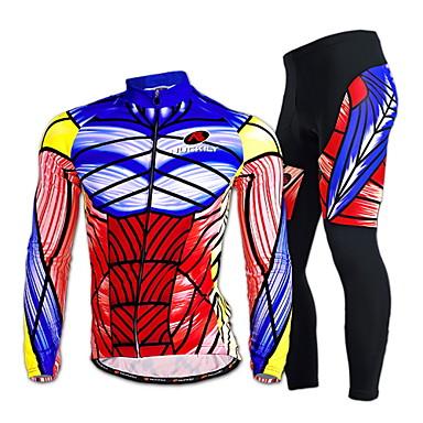 Nuckily Muškarci Dugih rukava Biciklistička majica s tajicama - Zlato Bicikl Kompleti odjeće, Quick dry, Ultraviolet Resistant,