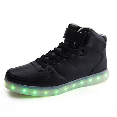 Herrn Schuhe Künstliche Mikrofaser Polyurethan Herbst Winter Leuchtende LED-Schuhe Komfort Sneakers Klettverschluss Schnürsenkel für