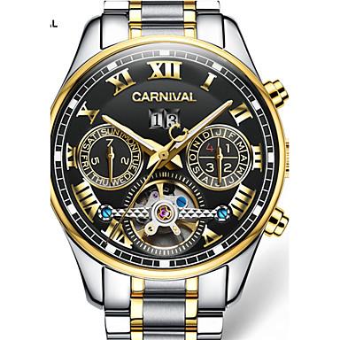 baratos Relógios Homem-Carnival Homens Relógio Esqueleto Automático - da corda automáticamente Aço Inoxidável Branco / Dourada 30 m Gravação Oca Analógico-Digital Amuleto - Preto / Dourado