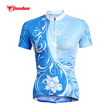TASDAN Women's Short Sleeve Cycling Jersey Floral / Botanical Plus Size Bike Jersey Top Clothing Suit Breathable Quick Dry Ultraviolet Resistant Sports 100% Polyester Mountain Bike MTB Road Bike