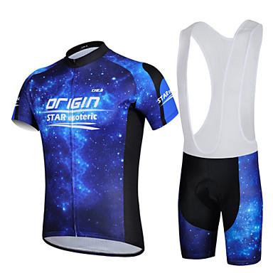 cheji® 남성용 짧은 소매 싸이클 빕 반바지 져지 - 퍼플 블루 자전거 BIB 반바지 져지 의류 세트, 빠른 드라이, 자외선 방지, 통기성, 3D 패드