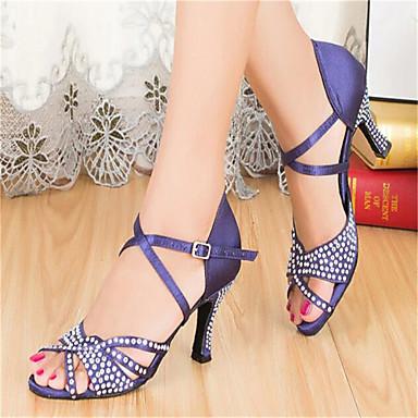 Femme Chaussures Latines / Chaussures de Salsa / Chaussures  de Samba Satin   Chaussures / Talon Strass / Paillette / Boucle Talon Personnalisé b208d7