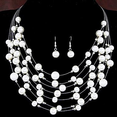 Dame Perle Lag-på-lag Smykkesett - Perle, Imitert Perle Europeisk, Mote, Multi Layer Inkludere Til Bryllup Fest Daglig / Øreringer / Halskjeder