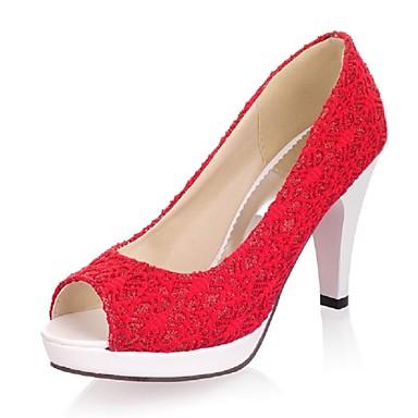 נשים נעליים חומרים בהתאמה אישית דמוי עור אביב קיץ סתיו חורף עקב עבה פלטפורמה עבור חתונה מסיבה וערב שמלה לבן שחור בז' אדום