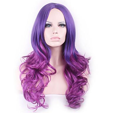 Syntetiske parykker Bølget tetthet Lokkløs Dame Lang Syntetisk hår