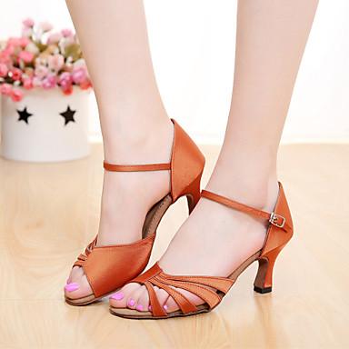 Mulheres Sapatos de Dança Latina Cetim Sandália Presilha Salto Personalizado Personalizável Sapatos de Dança Marrom / Laranja / Púrpura