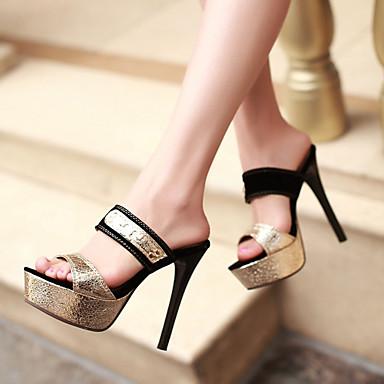 Naiset Kengät Tekonahka Kevät Kesä Syksy Stilettikorko Korokekengät Niiteillä varten Kausaliteetti Puku Juhlat Musta Kultainen