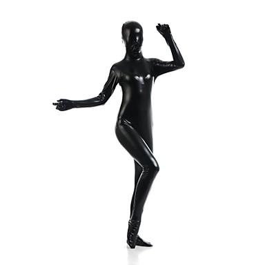 Skinnende Zentai Drakter Ninja Zentai Cosplay-kostymer Svart Ensfarget Trikot / Heldraktskostymer Zentai Spandex Skinnende Metallisk
