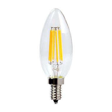 600 lm E12 Luzes de LED em Vela C35 6 Contas LED COB Impermeável / Regulável Branco Quente 110-130 V / 1 pç / RoHs