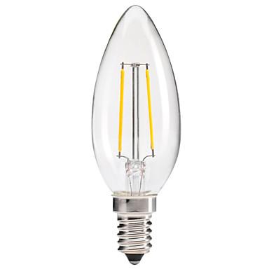 1 stk. kwb E14 1.5W / 2W 2 COB 200 lm Varm hvit C35 edison Vintage LED-glødepærer AC 220-240 V