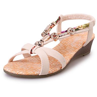נשים נעליים דמוי עור קיץ שטוח קריסטל רצועה קלועה ל קזו'אל שחור בז'