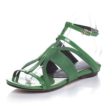 Naiset Kengät Nahka Kevät Kesä Gladiaattori Matala korko Käyttötarkoitus Kausaliteetti Puku Keltainen Punainen Vihreä