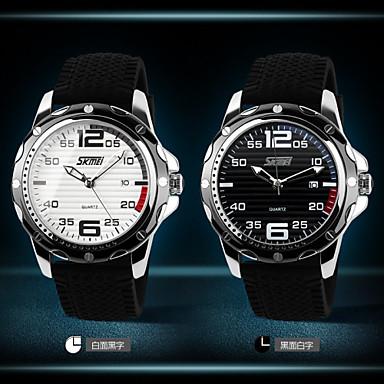 SKMEI גברים שעוני שמלה שעוני אופנה שעון יד קווארץ לוח שנה זוהר בחושך גומי להקה מגניב שחור לבן שחור
