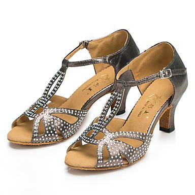 Moguće personalizirati-Ženske-Plesne cipele-Latino / Jazz / Salsa / Samba / Cipele za swing-Saten-Potpetica po mjeri-Crna / Plava / Siva
