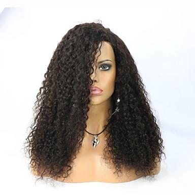 Naisten Aitohiusperuukit verkolla Aidot hiukset Full Lace Lace Front Liimaton puoliverkko 130% 150% Tiheys perverssi Peruukki Jet Black