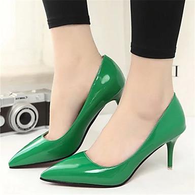Ženske cipele-Salonke / štikle-Formalne prilike-Umjetna koža-Stiletto potpetica-Špicoke-Crna / Zelena / Ružičasta / Crvena