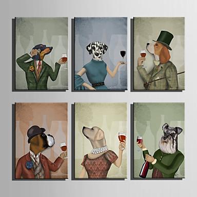 Eläin / Sarjakuva Canvas Tulosta One Panel Valmis Hang,Pysty
