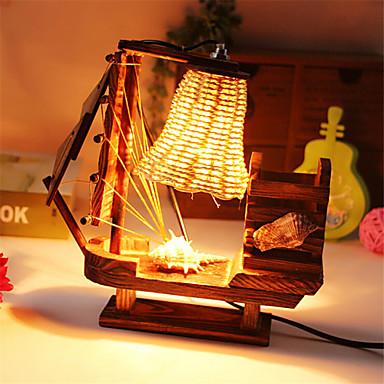 מברשת עץ יצירה סיר מנורת שיט אור מנורת קישוט שולחן מתנת מנורת חדר שינה עבור ילד