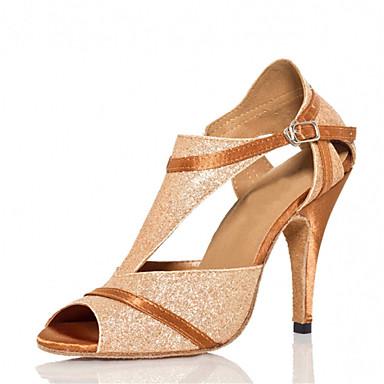 Mulheres Sapatos de Dança Latina / Sapatos de Salsa Glitter / Cetim Sandália / Salto Gliter com Brilho / Presilha Salto Personalizado