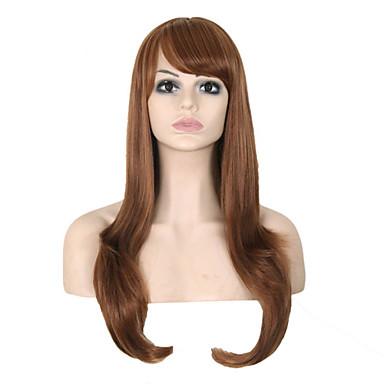 길이가 긴 스트레이트 헤어 유럽 직조 갈색 머리 합성 가발