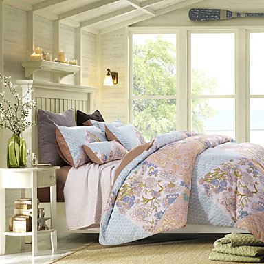 Poplun Cover Sets Cvjetni motivi 4 komada Reactive Print 1pc duvet Cover 2kom Shams 1pc Stan list
