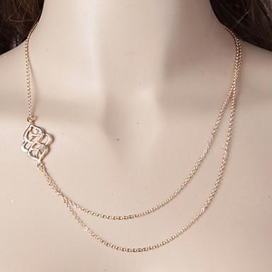 Mulheres Forma Multi Camadas Colares com Pendentes Colares em Corrente colares em camadas Liga Colares com Pendentes Colares em Corrente