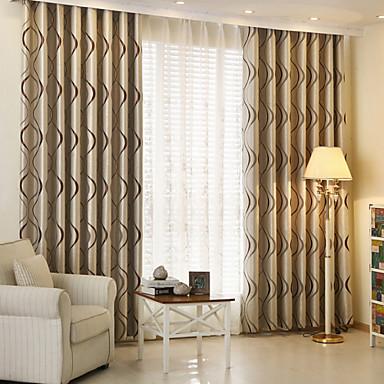Barra no Interior Anéis Presilhas Duplo Plissado Único Plissado Dois Painéis Tratamento janela Modern , Jacquard Riscas Quarto das