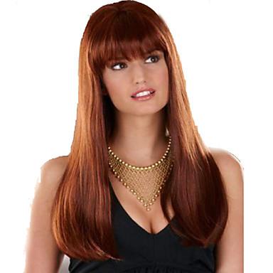 유럽과 미국 여성은 캡 골드 긴 직선 갈색 머리 깔끔한 뱅 합성 가발 가발