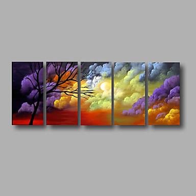 Maalattu Abstrakti / Maisema / Abstraktit maisemakuvatModerni 5 paneeli Kanvas Hang-Painted öljymaalaus For Kodinsisustus
