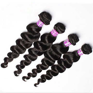 Az emberi haj sző Perui haj Laza hullám 4 darab haj sző