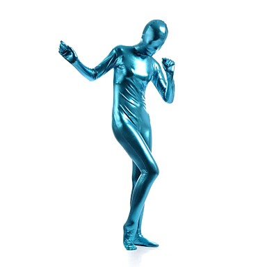 Shiny Zentai Anzüge Ninja Zentai Kostüme Cosplay Kostüme Blau Solide Gymnastikanzug / Einteiler Zentai Kostüme Elasthan Glänzend