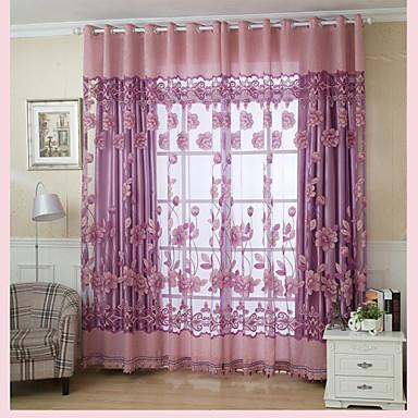 Anéis Um Painel Tratamento janela Regional, Jacquard Sala de Estar Poliéster Material Sheer Curtains Shades Decoração para casa