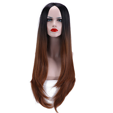 Synthetic Hair Wigs Wavy Ombre Hair Capless Brown