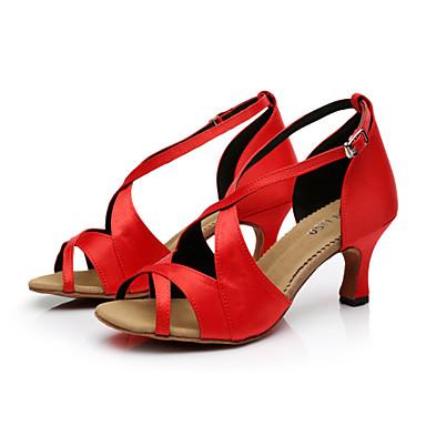 Femme Chaussures de Salsa Satin   Boucle Boucle Boucle Talon Personnalisé Personnalisables Chaussures de danse Marron / Orange / Violet / Cuir 26cf82