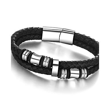 Herrn Ketten- & Glieder-Armbänder Armband Einzigartiges Design Retro Party Büro Freizeit Modisch Edelstahl Leder Titanstahl Farbbildschirm
