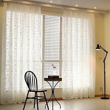 Ösen plissiert zwei Panele Window Treatment Modern Europäisch Landhaus Stil, Stickerei Wohnzimmer Poly /  Baumwollmischung Stoff Gardinen