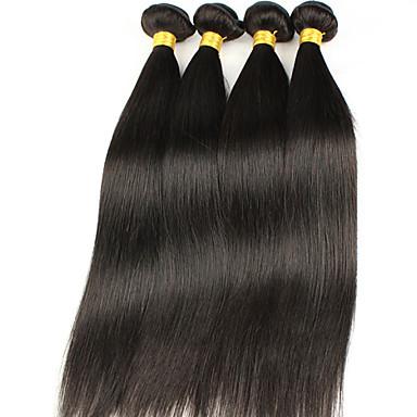 Menneskehår Vevet Peruviansk hår Rett 12 måneder 4 deler hår vever