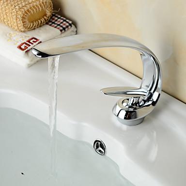 Moderne Centersat Foss Keramisk Ventil Enkelt Håndtak Et Hull Krom, Baderom Sink Tappekran