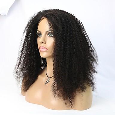 Mulher Perucas de Cabelo Natural Cabelo Humano Frente de Malha Renda Frontal sem Cola 130% 150% Densidade Kinky Curly Afro Peruca Preto