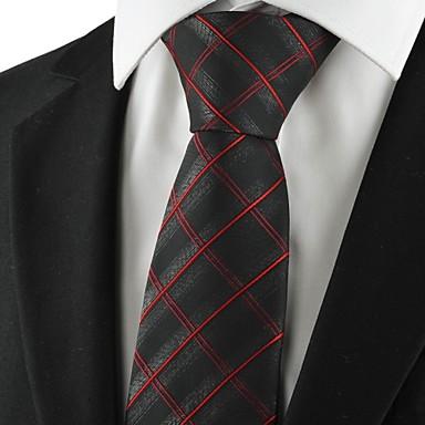 עניבה-משובץ (רשת)(שחור / אדום,פוליאסטר)
