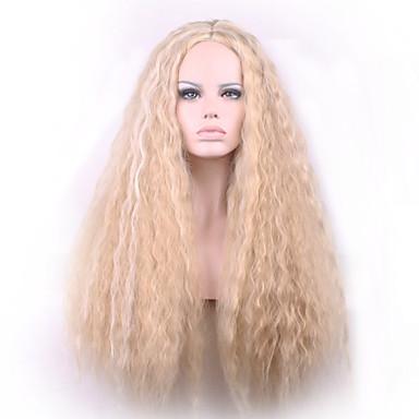Syntetisk hår Parykker Krøllet Lokkløs Lang Blond