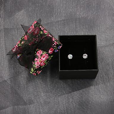 Feminino Brincos Compridos Zircônia cúbica bijuterias Prata de Lei Zircão Zircônia Cubica Formato Circular Jóias Para Casamento Festa