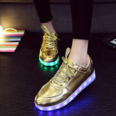 נשים גברים נעליים דמוי עור אביב קיץ סתיו נעליים זוהרות שטוח שרוכים ל אתלטי קזו'אל כסף מוזהב